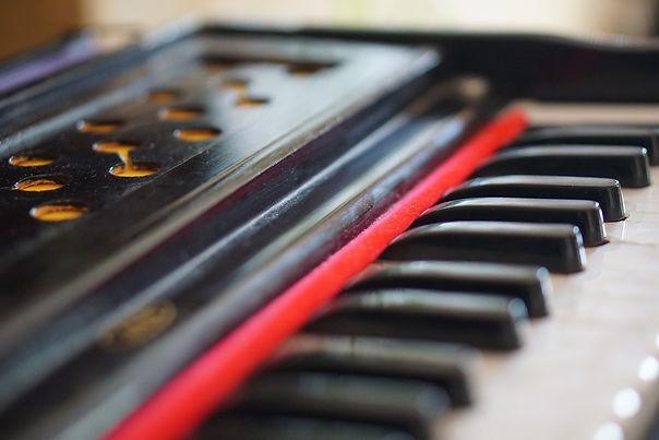Close up of a JAS Musicals Harmonium
