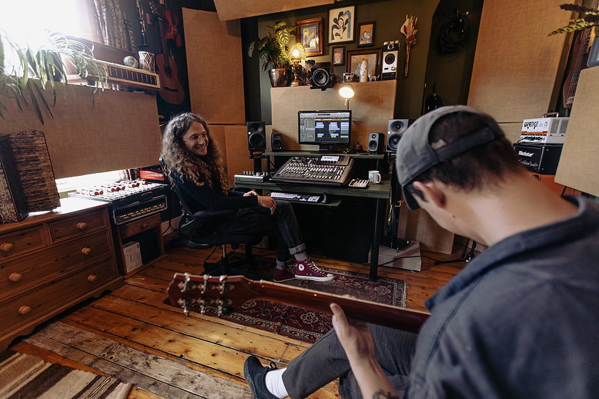 A recording session at Wise Tree Studios with Jed Timms - © Marieke Macklon
