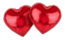 Couple of red balloons. Hearts. Symbol o
