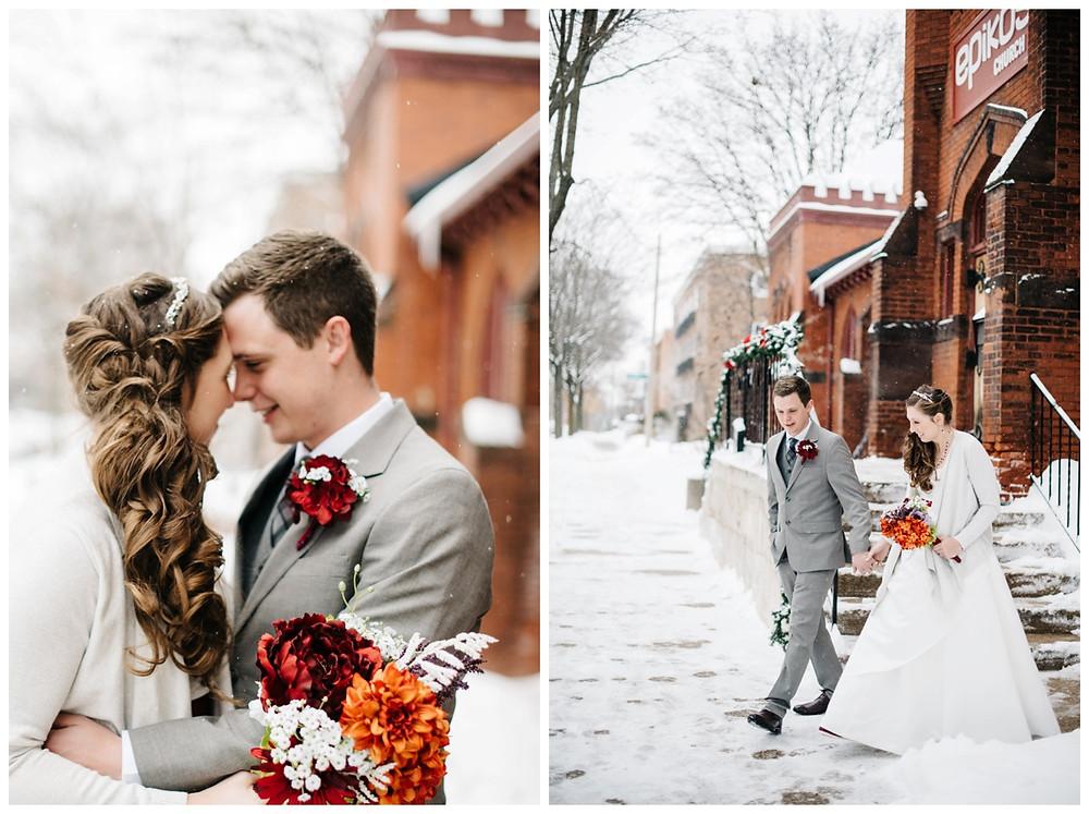 wedding-couple-walking-in-snow-at-milwaukee-wedding-by-green-bay-wedding-photographer-kyra-rane-photographer