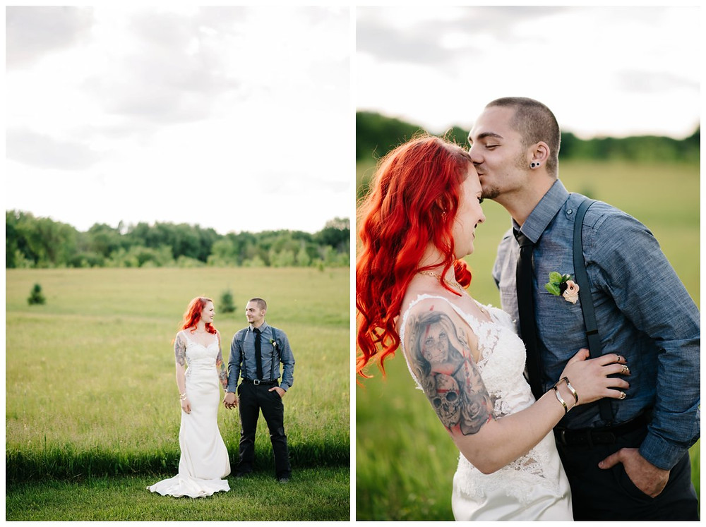 groom-kissing-bride-forehead-laughing-at-homestead-meadows-styled-shoot-by-appleton-wedding-photographer-kyra-rane-photography