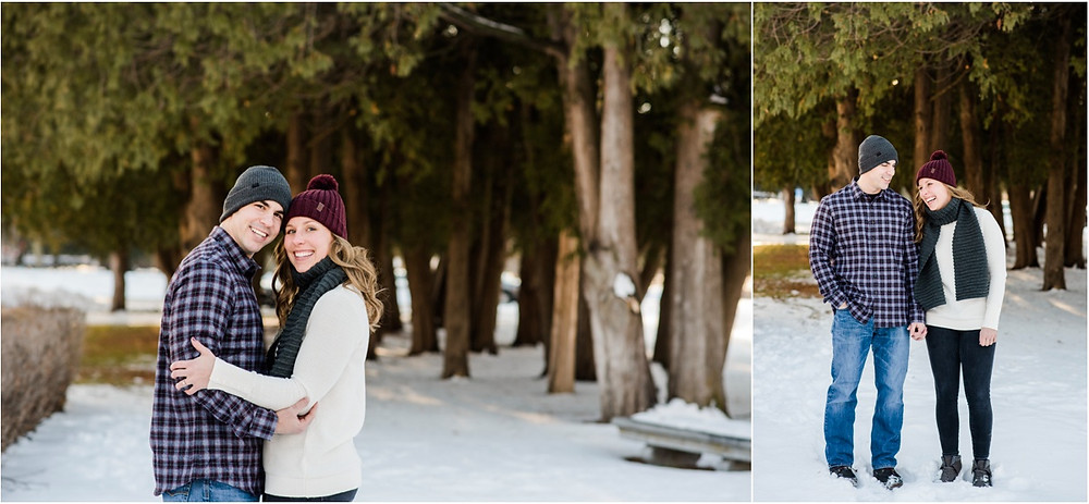 engaged-couple-laughing-together-at-pamperin-park-winter-engagement-session-by-milwaukee-wedding-photographer-kyra-rane-photography