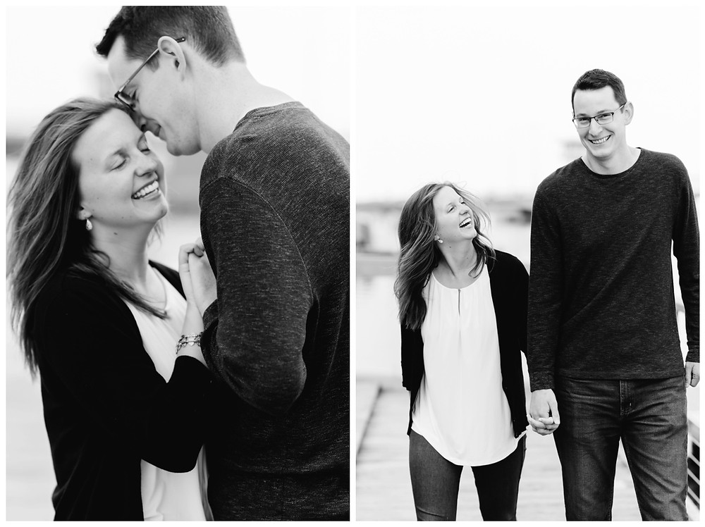 engaged-couple-heads-close-smiling-at-downtown-green-bay-engagement-session-by-milwaukee-wedding-photographer-kyra-rane-photography
