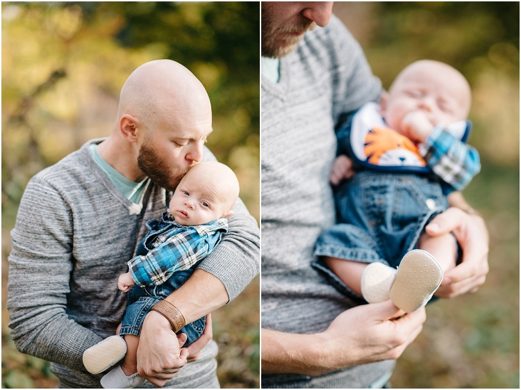 dad-kissing-son-at-fall-mini-session-favorites-by-green-bay-wedding-photographer-kyra-rane-photography