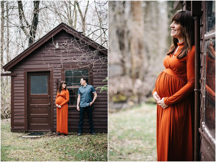 coule-expecting-in-front-of-little-cabin-at-menasha-maternity-session-by-appleton-wedding-photographer-kyra-rane-photography