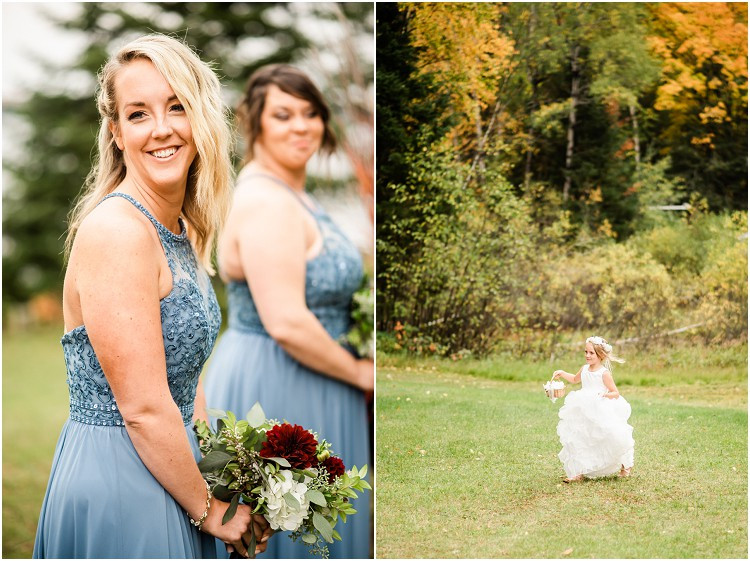 flower-girl-walking-down-aisle-at-northern-wisconsin-autumn-wedding-by-milwaukee-wedding-photographer-kyra-rane-photography