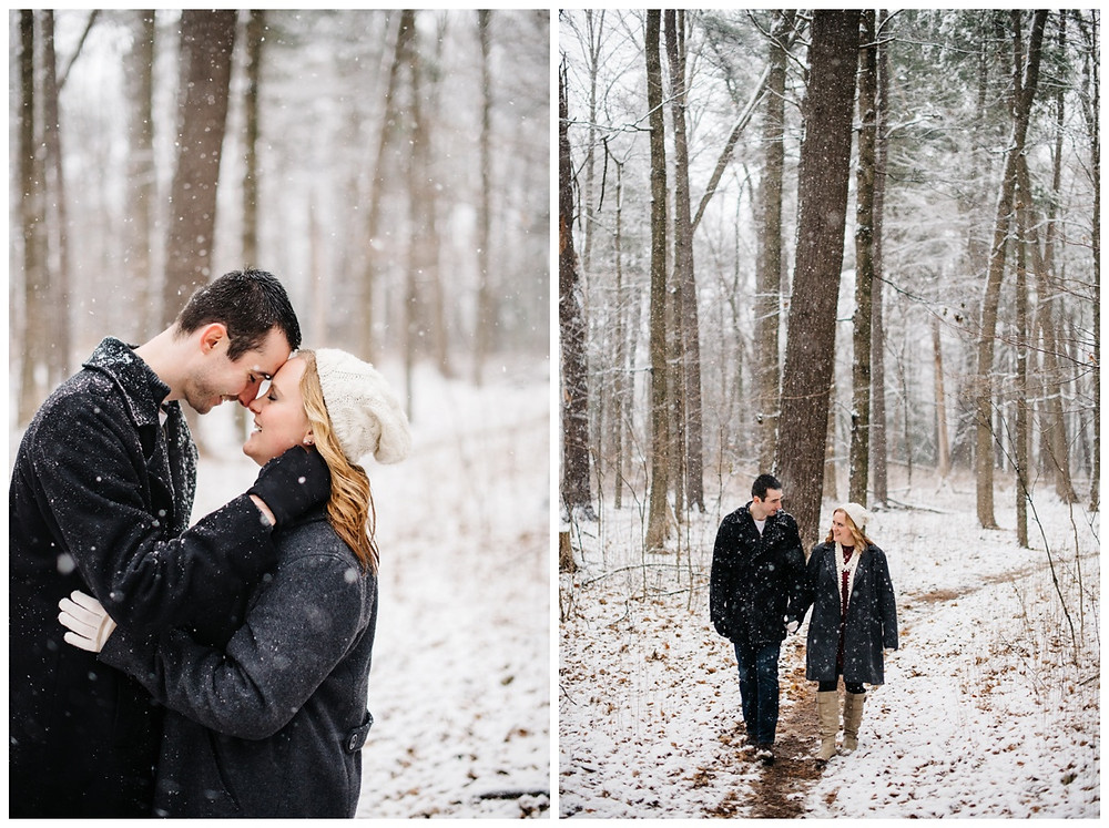 engaged-couple-walking-on-snow-trail-at-snowy-sheboygan-engagement-session-by-milwaukee-wedding-photographer-kyra-rane-photography