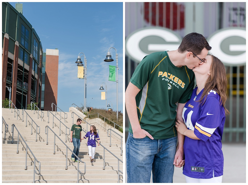 engaged-couple-walking-down-steps-at-downtown-green-bay-engagement-session-by-appleton-wedding-photographer-kyra-rane-photography