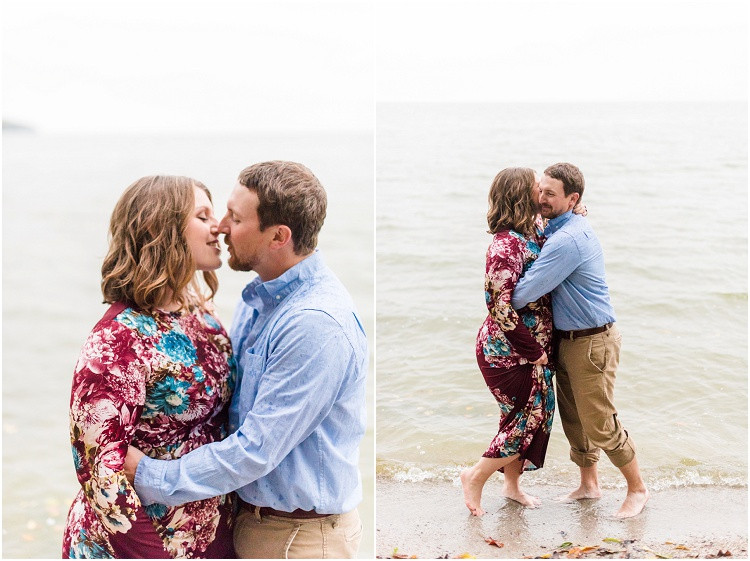 engaged-couple-hug-standing-in-water-at-high-cliff-engagement-session-by-appleton-wedding-photographer-kyra-rane-photography