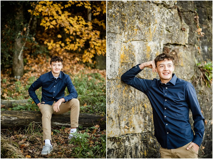 boy-leaning-against-cliff-looking-away-from-camera-at-senior-session-at-high-cliff-state-park-by-appleton-wedding-photographer-kyra-rane-photography