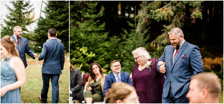 groom-walking-mom-down-aisle-at-northern-wisconsin-autumn-wedding-by-green-bay-wedding-photographer-kyra-rane-photography