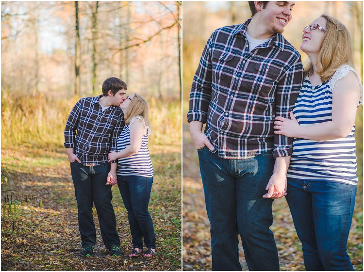 couple-kissing-on-trail-at-maywood-environmental-park-engagement-session-by-appleton-wedding-photography-kyra-rane-photography