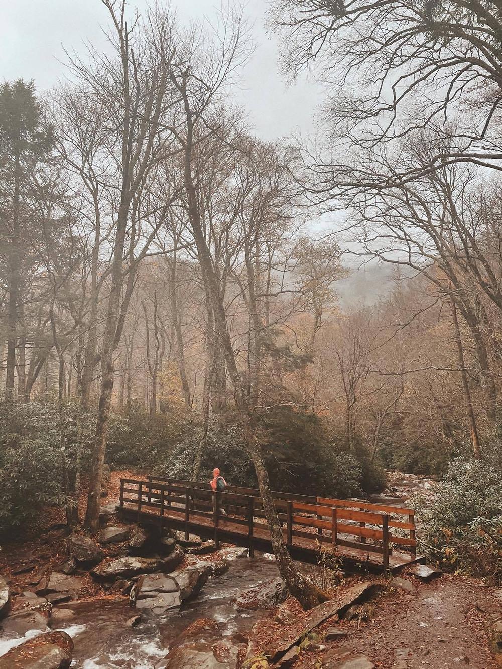 hiking-across-footbridge-at-smoky-mountains-national-park-by-appleton-wedding-photography-kyra-rane-photography