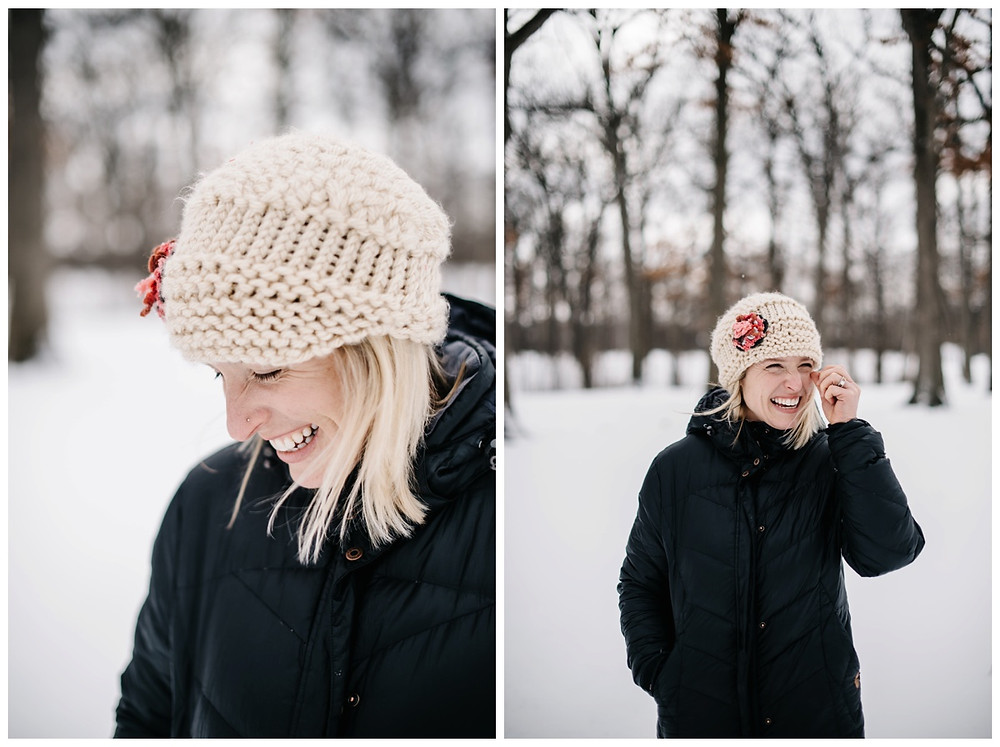 woman-laughing-in-crochet-hat-at-winter-portrait-session-at-pierce-park-by-green-bay-wedding-photographer-kyra-rane-photography