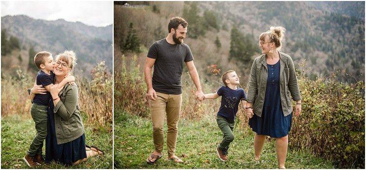 son-giving-mom-kiss-on-cheek-at-family-session-in-the-great-smoky-mountains-by-appleton-wedding-photographer-kyra-rane-photography
