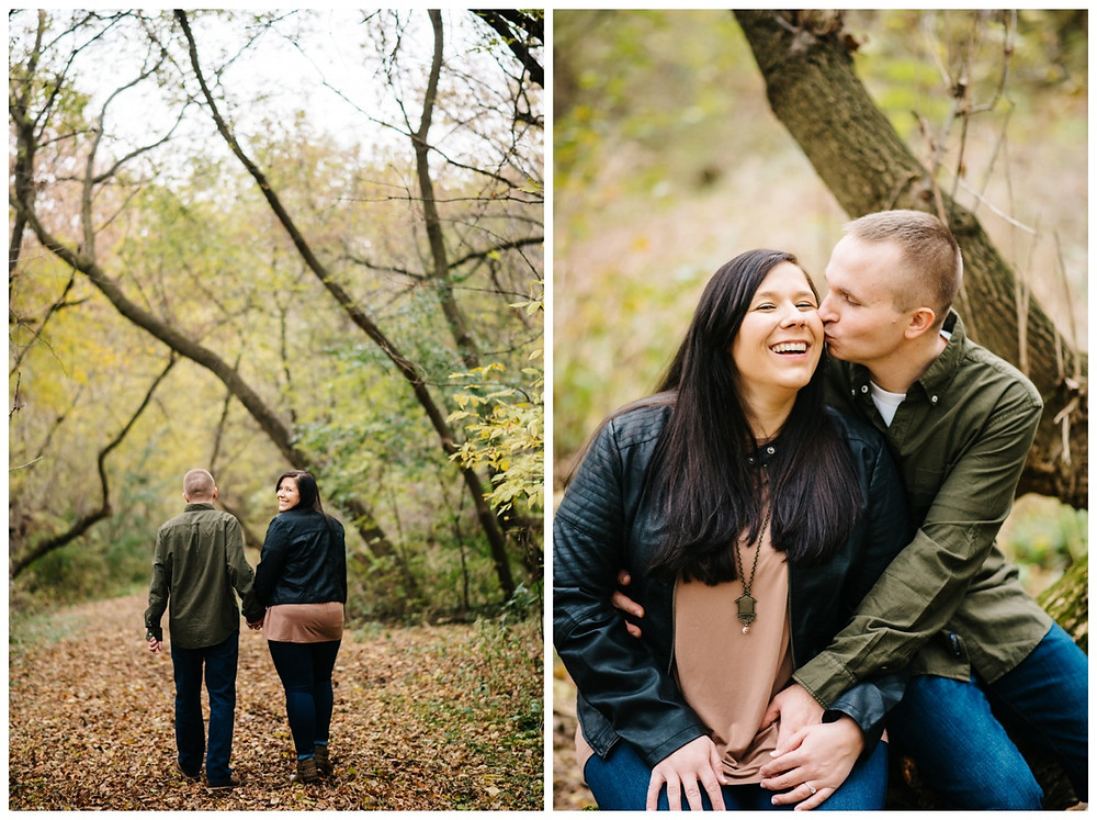 engaged-couple-walking-on-leaves-at-green-bay-engagement-session-by-appleton-wedding-photographer-kyra-rane-photography