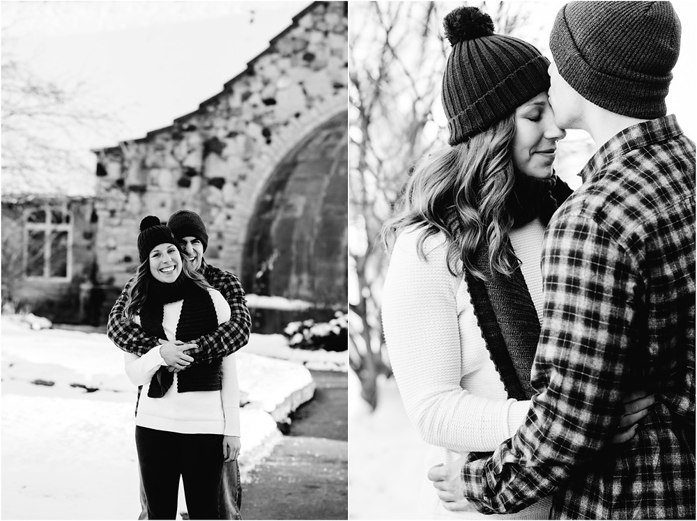 man-kissing-fiances-forehead-at-pamperin-park-winter-engagement-session-by-green-bay-wedding-photographer-kyra-rane-photography
