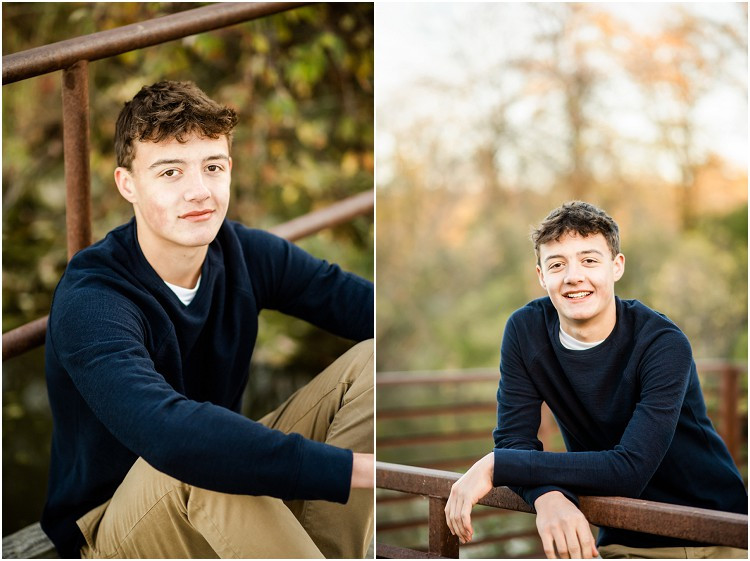 boy-leaning-against-railing-looking-at-camera-at-senior-session-at-high-cliff-state-park-by-appleton-wedding-photographer-kyra-rane-photography