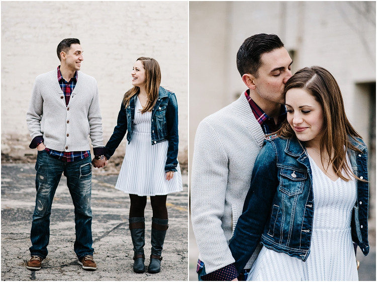 man-kissing-fiances-back-of-head-at-appleton-engagement-session-by-green-bay-wedding-photographer-kyra-rane-photography
