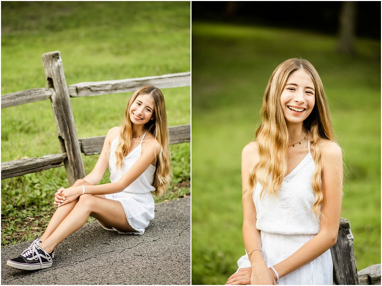 senior-laughing-on-fence-at-senior-session-at-plamann-park-by-milwaukee-wedding-photographer-kyra-rane-photography
