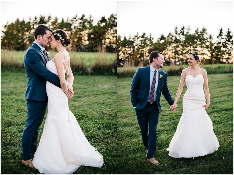 bride-and-groom-walking-at-sunset-at-barnsite-retreat-and-events-wedding-by-milwaukee-wedding-photographer-kyra-rane-photography
