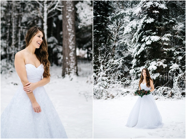 winter-bride-looking-at-camera-holding-floral-arrangement-at-wisconsin-winter-bridal-portraits-by-green-bay-wedding-photographer-kyra-rane-photography