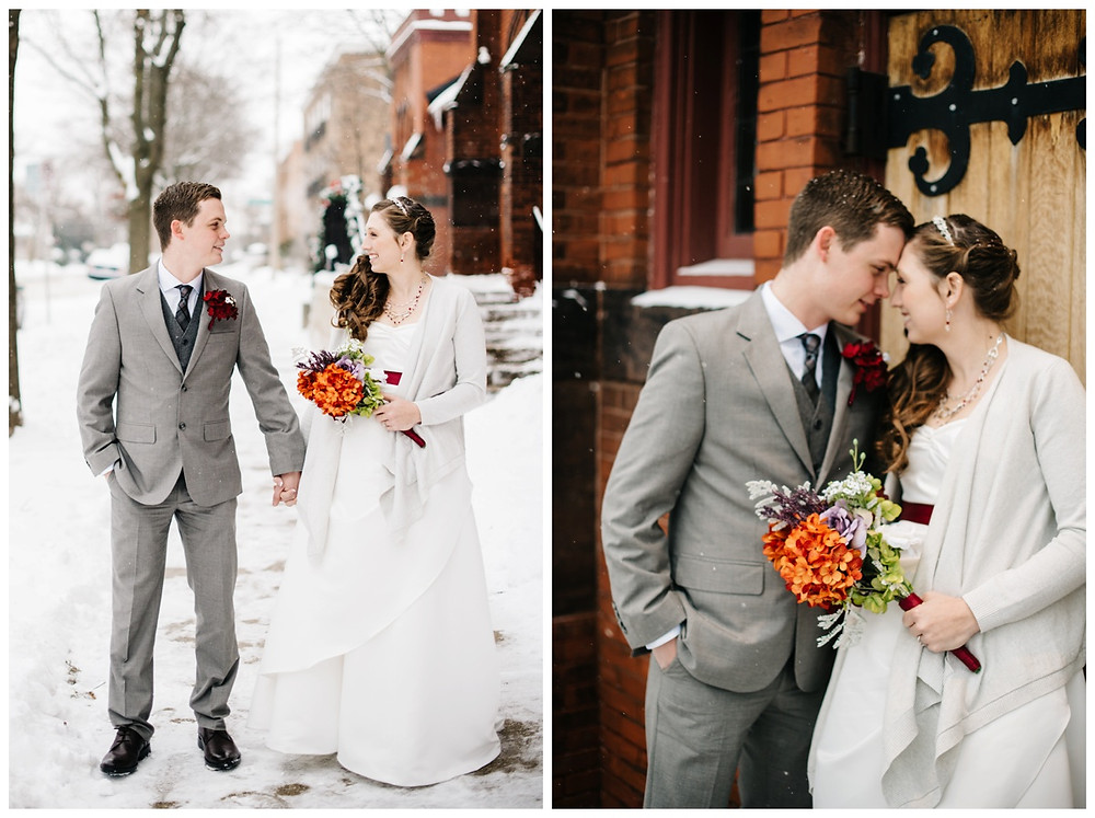 bride-and-groom-holding-hands-on-sidewalk-at-milwaukee-wedding-by-appleton-wedding-photographer-kyra-rane-photographer