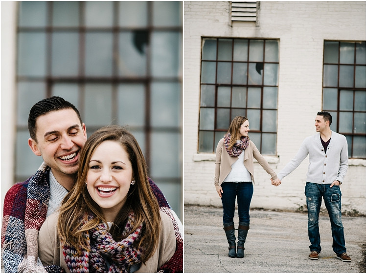engaged-couple-holding-hands-in-alley-at-appleton-engagement-session-by-appleton-wedding-photographer-kyra-rane-photography