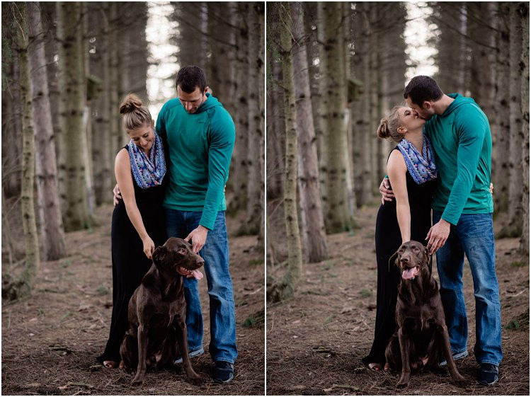 engaged-couple-petting-dog-at-hortonville-engagement-session-by-appleton-wedding-photographer-kyra-rane-photography