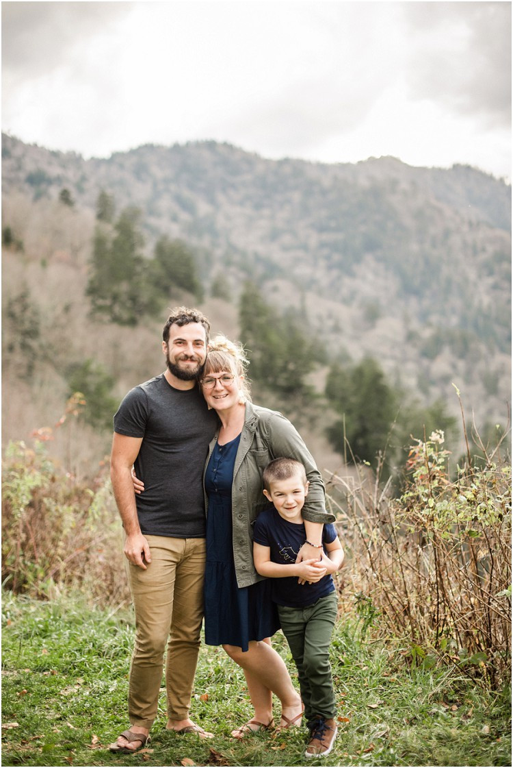 family-smiling-at-camera-at-family-session-in-the-great-smoky-mountains-by-appleton-wedding-photographer-kyra-rane-photography