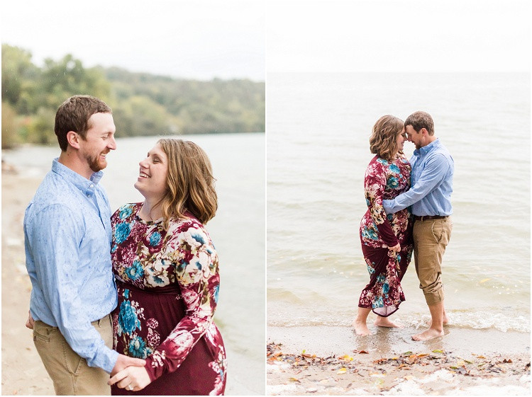 engaged-couple-standing-in-water-at-high-cliff-engagement-session-by-milwaukee-wedding-photographer-kyra-rane-photography