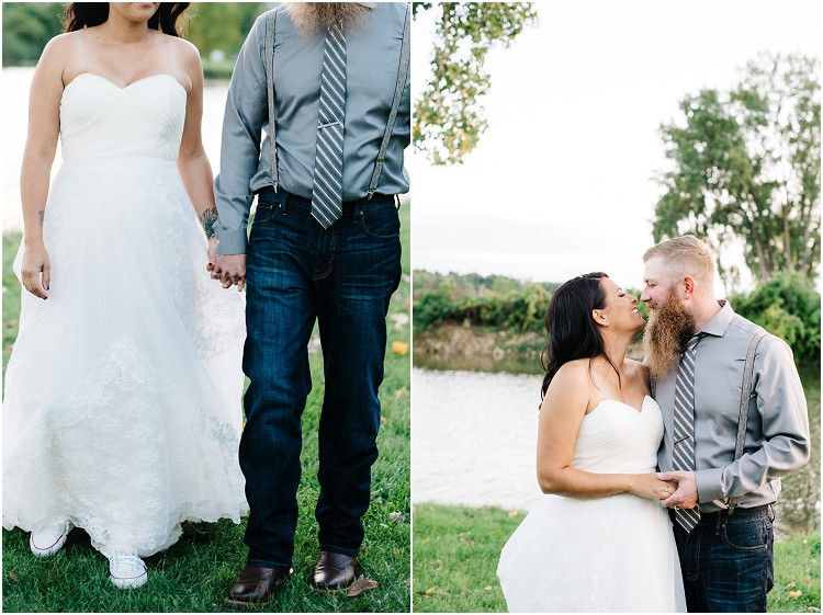 wedding-couple-smiling-at-each-other-at-little-chute-waterfront-wedding-by-appleton-wedding-photographer-kyra-rane-photography