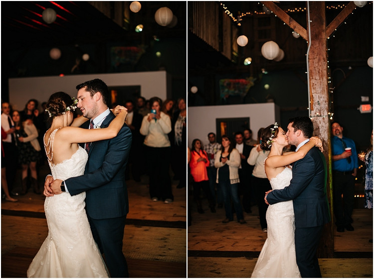 wedding-couple-first-dance-kiss-at-barnsite-retreat-and-events-wedding-by-green-bay-wedding-photographer-kyra-rane-photography