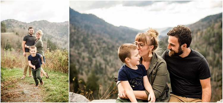 little-boy-running-towards-camera-at-family-session-in-the-great-smoky-mountains-by-milwaukee-wedding-photographer-kyra-rane-photography