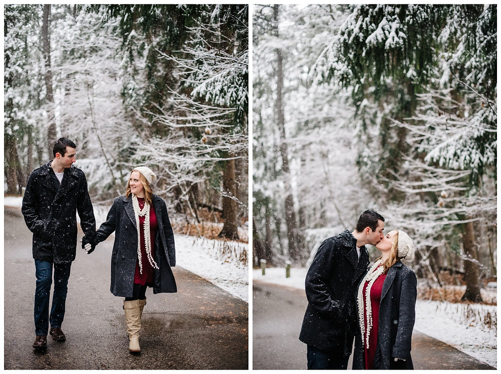 engaged-couple-kissing-in-road-at-snowy-sheboygan-engagement-session-by-appleton-wedding-photographer-kyra-rane-photography