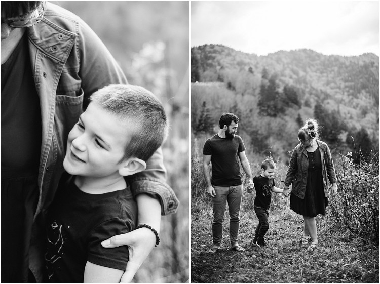 family-holding-hands-walking-towards-camera-at-family-session-in-the-great-smoky-mountains-by-green-bay-wedding-photographer-kyra-rane-photography