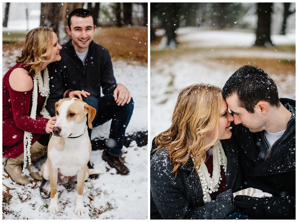 engaged-couple-snuggling-with-pup-at-snowy-sheboygan-engagement-session-by-green-bay-wedding-photographer-kyra-rane-photography