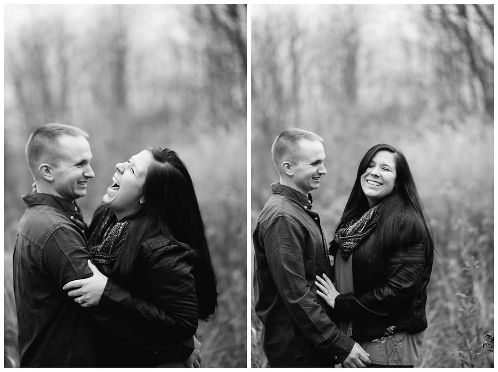 engaged-couple-laughing-in-field-at-green-bay-engagement-session-by-green-bay-wedding-photographer-kyra-rane-photography