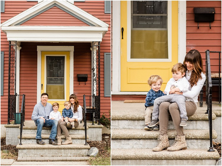 mom-smiling-on-front-steps-with-sons-at-the-front-porch-series-by-green-bay-wedding-photographer-kyra-rane-photography