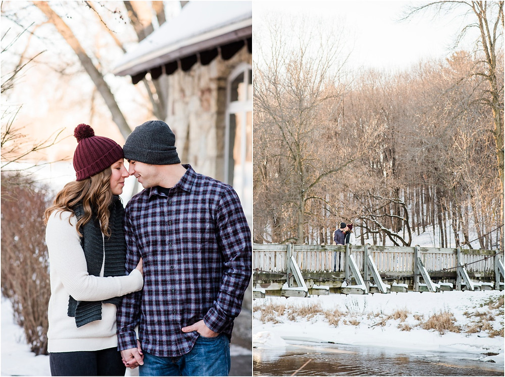 engaged-couple-kissing-on-bridge-at-pamperin-park-winter-engagement-session-by-appleton-wedding-photographer-kyra-rane-photography