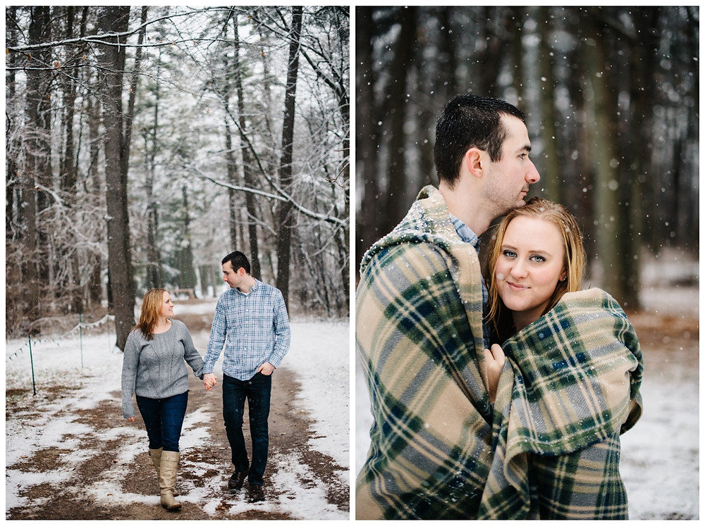 engaged-couple-holding-hands-walking-on-road-at-snowy-sheboygan-engagement-session-by-appleton-wedding-photographer-kyra-rane-photography