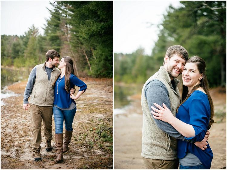 engaged-couple-laughing-at-camera-at-northwoods-lakeside-engagement-session-by-appleton-wedding-photographer-kyra-rane-photography