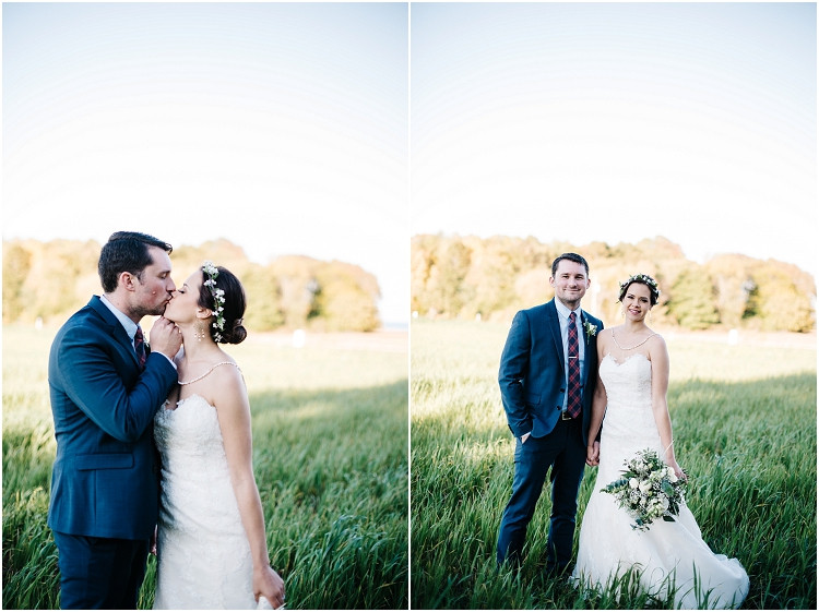 wedding-couple-in-field-kissing-at-barnsite-retreat-and-events-wedding-by-appleton-wedding-photographer-kyra-rane-photography