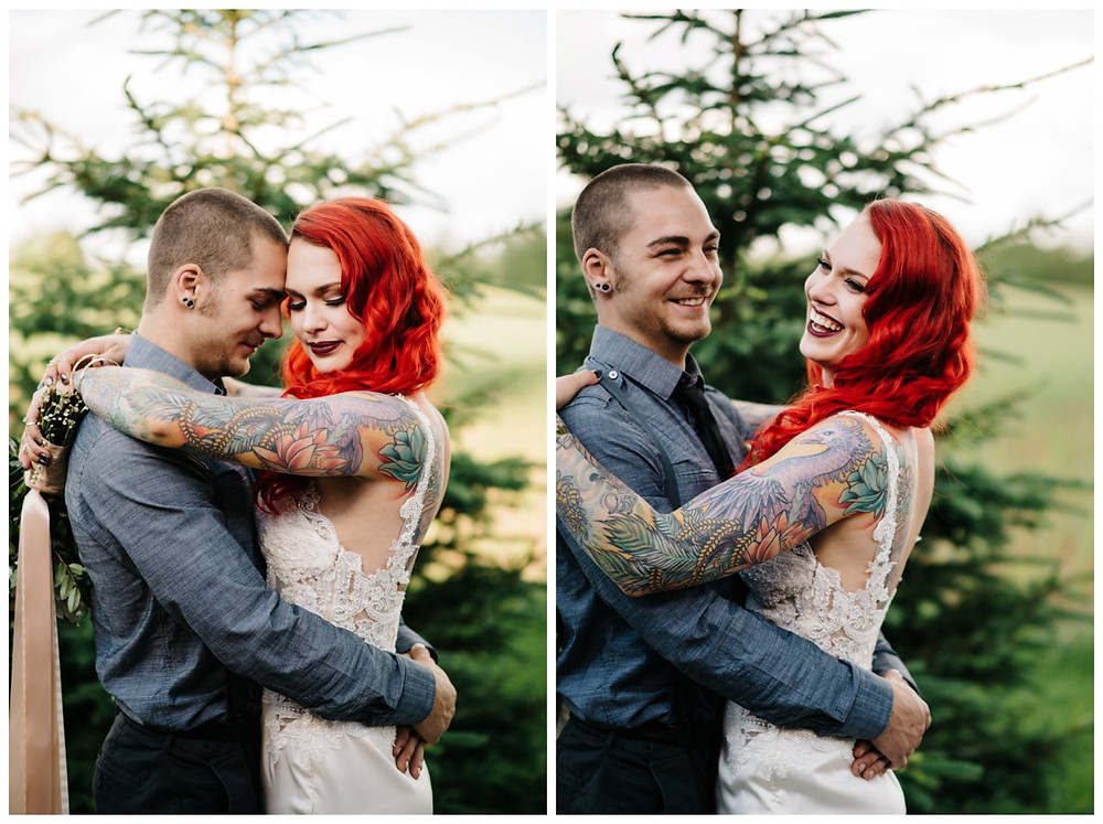 bride-with-tatoos-laughing-at-homestead-meadows-styled-shoot-by-green-bay-wedding-photographer-kyra-rane-photography