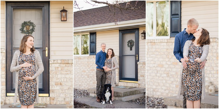 mother-and-father-to-be-with-dog-smiling-at-camera-at-the-front-porch-series-by-appleton-wedding-photographer-kyra-rane-photography