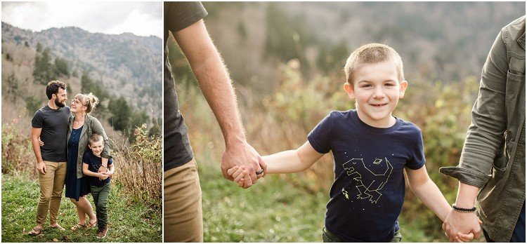 little-boy-walking-in-between-parents-towards-camera-holding-hands-at-family-session-in-the-great-smoky-mountains-by-green-bay-wedding-photographer-kyra-rane-photography