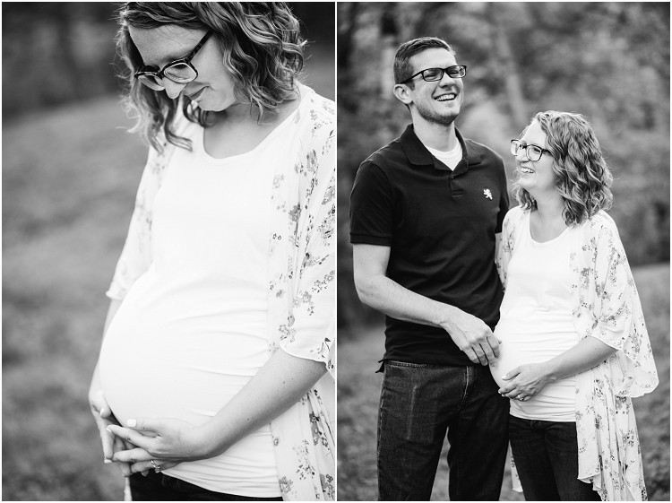 expecting-mom-holding-bump-and-looking-down-at-plamann-park-maternity-session-by-milwaukee-wedding-photographer-kyra-rane-photography