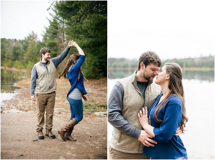 engaged-couple-twirling-at-northwoods-lakeside-engagement-session-by-milwaukee-wedding-photographer-kyra-rane-photography