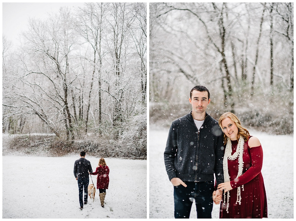 engaged-couple-walking-away-with-pup-in-snowfall-at-snowy-sheboygan-engagement-session-by-green-bay-wedding-photographer-kyra-rane-photography
