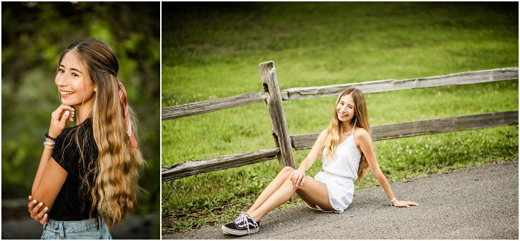 senior-sitting-by-fence-field-at-senior-session-at-plamann-park-by-appleton-wedding-photographer-kyra-rane-photography